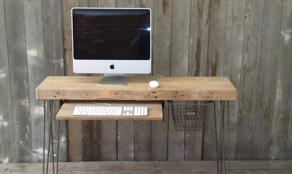 Modern Industrial small desk 48 x 115 w x 30 by UrbanWoodGoods
