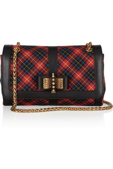 Sweet Charity Small leather-trimmed plaid flannel shoulder bag