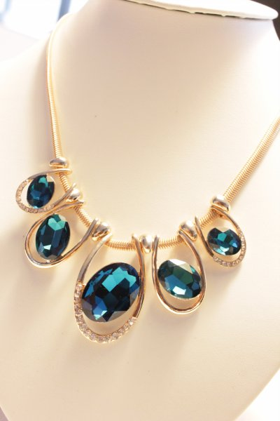 Big temperament and more gems flash diamond oval the Bling Yi Gu short necklace blue [xl66] - $20.00 : myliketo sole for usa,Fashion jewelry online,, myliketo for Accessories