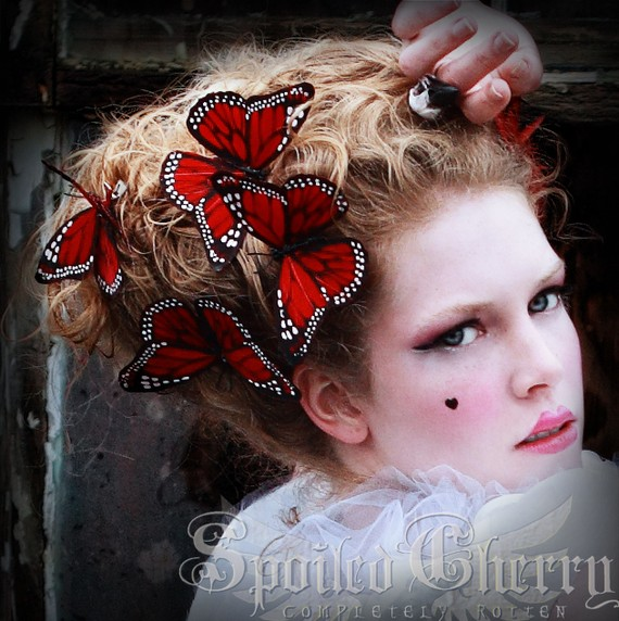Butterfly hair clip Monarch RED by SpoiledCherry on Etsy