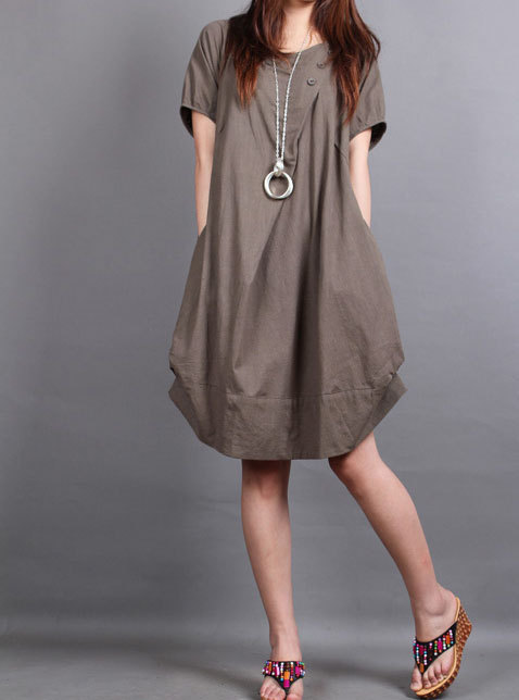 cotton pleated loose dress shirt In brown by MaLieb on Etsy