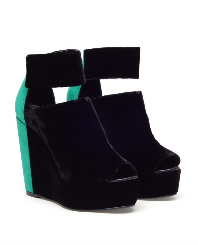 Browns fashion & designer clothes & clothing | PIERRE HARDY | Colour-blocked velvet and suede wedges