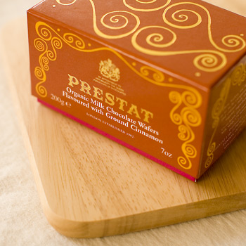 Organic Milk Chocolate Wafers Flavored with Ground Cinnamon from Prestat Chocolates