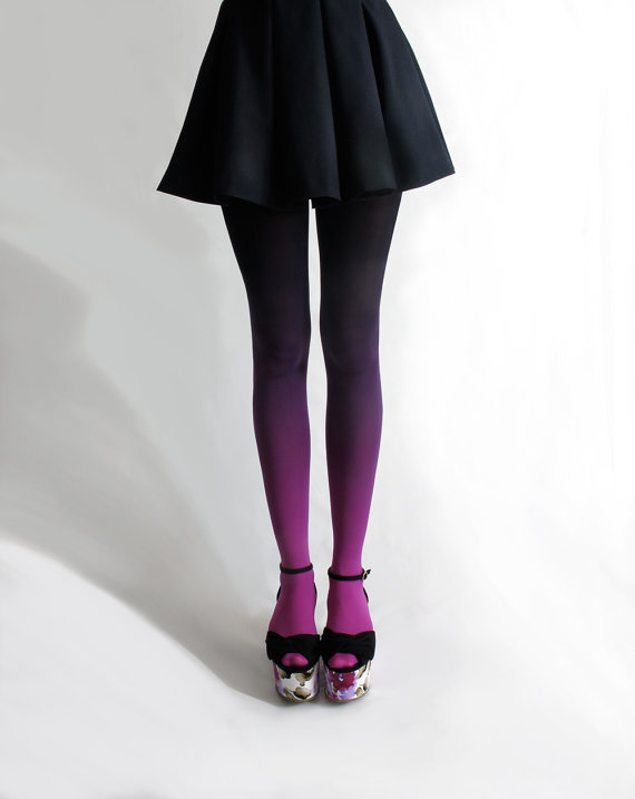 Ombré tights in Fuschian Violet by BZRBZR on Etsy