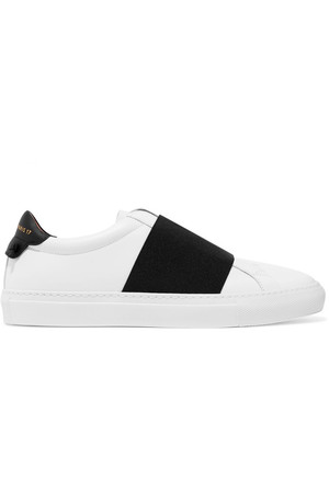 Elastic-trimmed leather sneakers