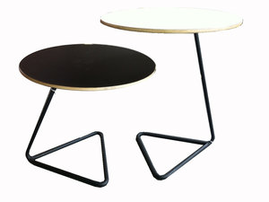 Small couple of white and yellow tables ,original legs by Mathieu Matégot for sale