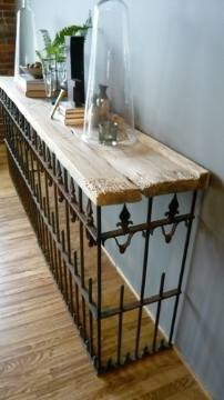 ▼ Furniture ▼ / salvaged wood + wrought iron fence = console table