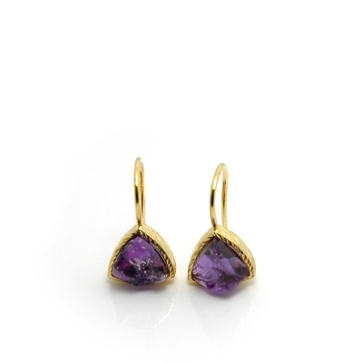 18K Gold Vermeil Raw Amethyst Bezel Set Drop Earrings : Arylza - Serendipity, Online Shopping For Vermeil and 925 Sterling Silver Jewelry