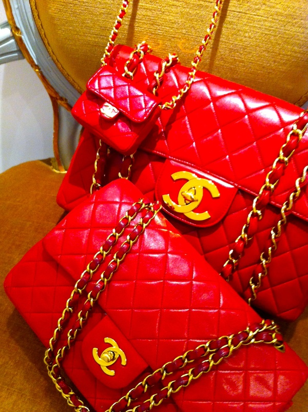red and gold and / Chanel.