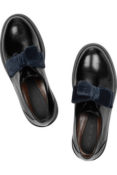 Marni|Velvet-bow glossed-leather brogues|NET-A-PORTER.COM