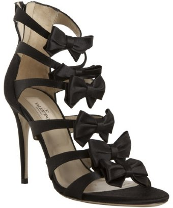 Valentino black satin bow detail strappy sandals | BLUEFLY up to 70% off designer brands