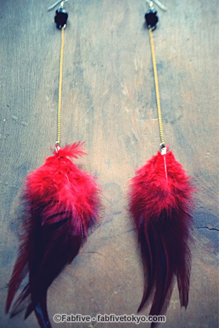 Feathers and Skulls Long Dangle Earrings - Fabfive ファブファイブ