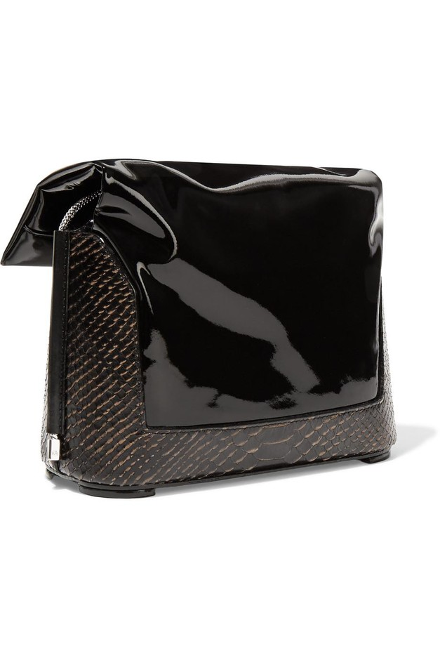 3.1 Phillip Lim | Hana patent and snake-effect leather shoulder bag | NET-A-PORTER.COM