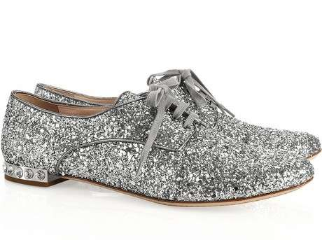 Haute Sparkly Shoes - These Miu Miu Glitter and Crystal Brogues are Perfect for New Year's Eve (GALLERY)