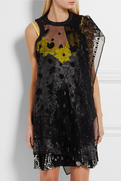 Sacai | Embroidered organza and lace-paneled printed voile dress | NET-A-PORTER.COM