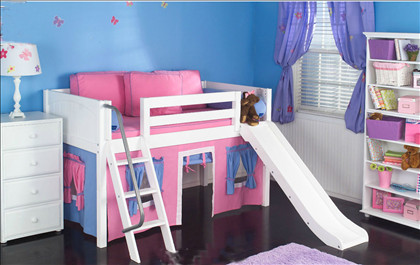 Maxtrix Kids Easy Rider Twin Low Loft Bed with Curtains, Angled Ladder (slide optional)