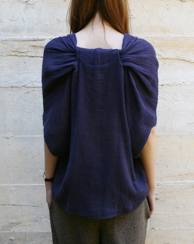 Thelma V-Neck Top in Navy Gauze By A Detacher