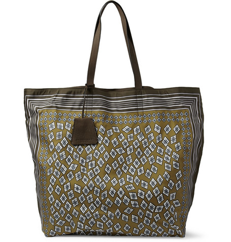 Burberry ProrsumPrinted Leather-Trimmed Tote Bag MR PORTER