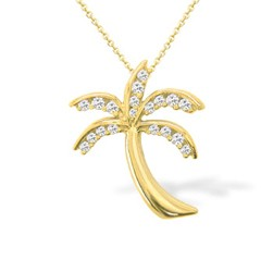 "Yellow Gold Palm Tree Pendant with Pavé Diamonds (Approx. 3/4"" long, Chain included)"