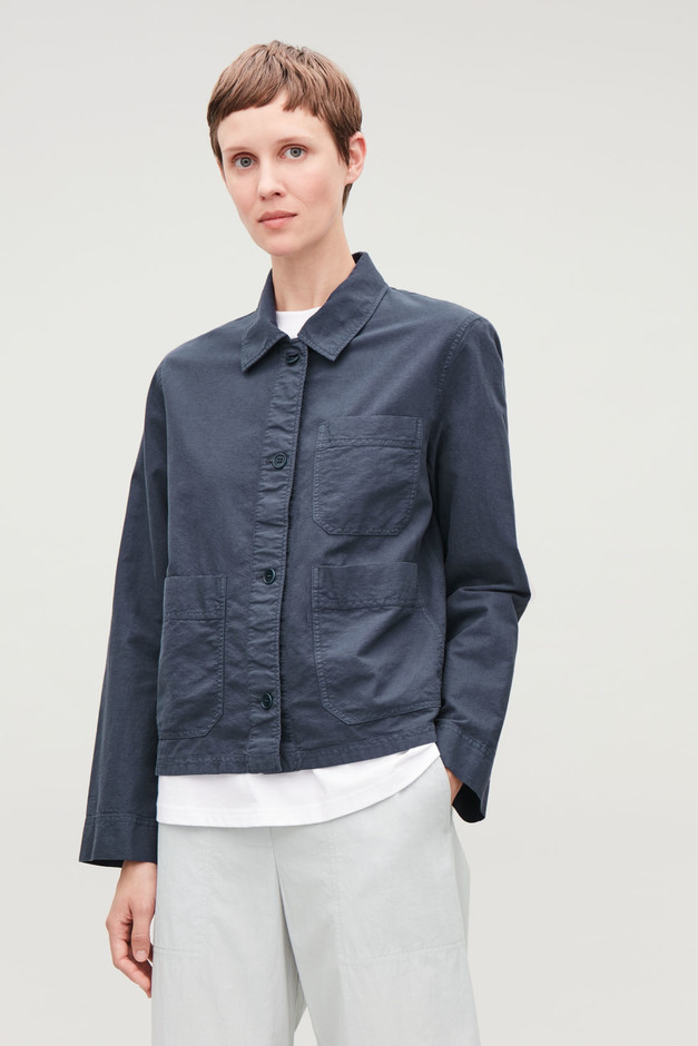 TOPSTITCHED SHIRT JACKET - Washed blue - Tops - COS