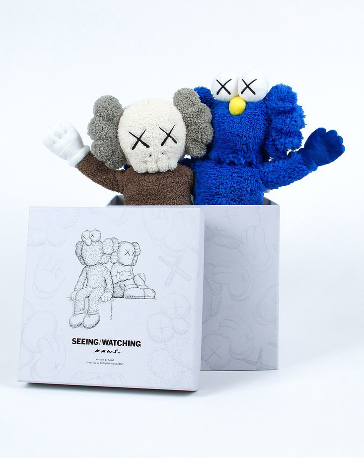 KAWS Seeing/Watching Plush With Box & Key Chain Grey/Blue - Toy Tokyo