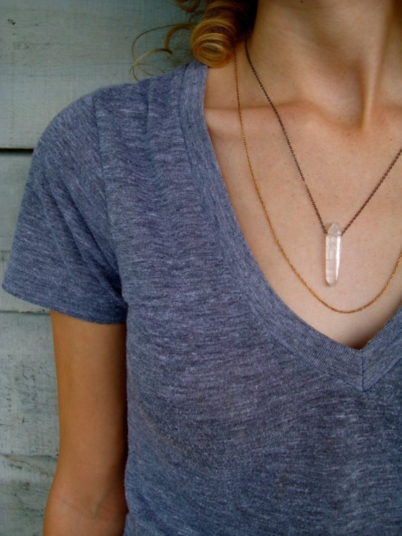 Tall Girl Tales — Quartz & layered chains necklace from Etsy.