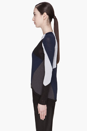 Damir Doma Blue Combo Kemi Knitted Sweater for women | SSENSE