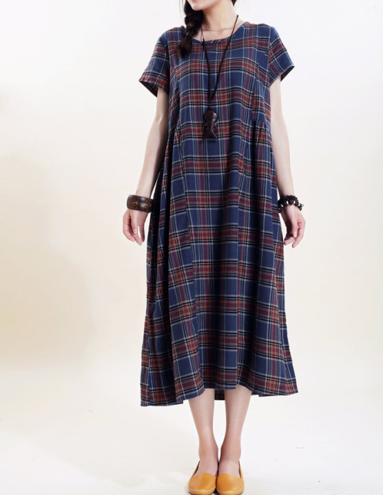 Simple loose short sleeved long dress by MaLieb on Etsy