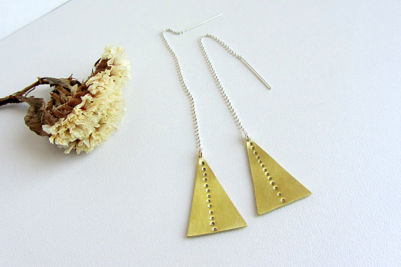 Brass triangle earrings Sterling silver Geometric by lunahoo