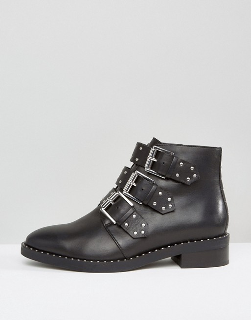 ASOS | ASOS ASHER Wide Fit Leather Flat Ankle Boots