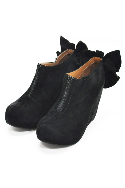 【JEFFREY CAMPBELL】Back ribbon suede wedge/BLACK [FJF1014] | Jeffrey Campbell | | FAKE TOKYO.com
