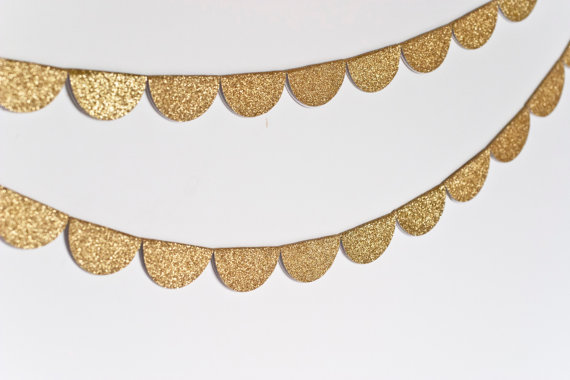 Scalloped Glitter Garland Gold by stephlovesben on Etsy