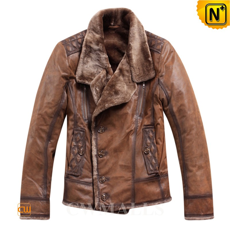 Men's Shearling Lined Bomber Jacket CW819056