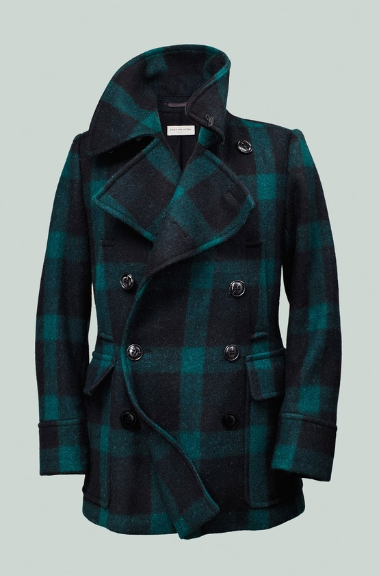 Gentleman / Dries Van Noten green-and-black buffalo plaid peacoat #mens #fashion >> but how do you even match this???