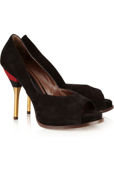 Marni Brushed-suede peep-toe pumps - 50% Off Now at THE OUTNET