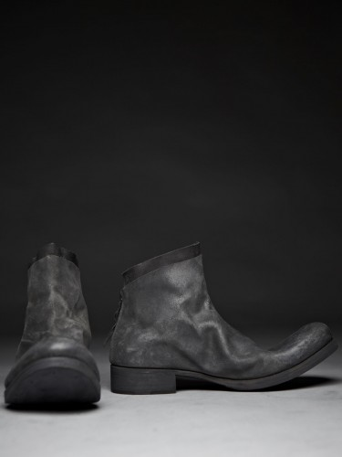 Reverse Camel Leather Short Back Zip Boot, Grey | Atelier New York
