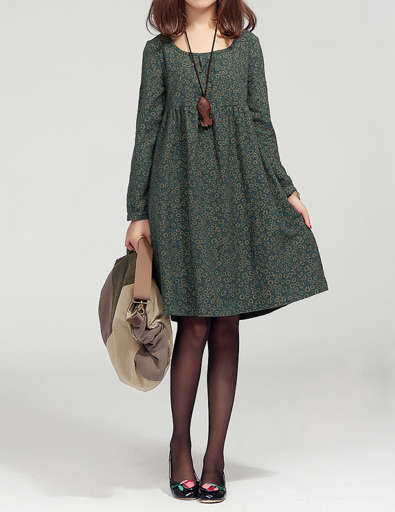 Lovely doll long sleeved tunic dress gown/ green/ by MaLieb