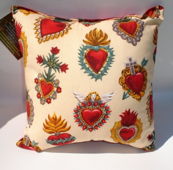 Corazon Sacred Heart Tattoo Art throw Pillow by VintageGaleria