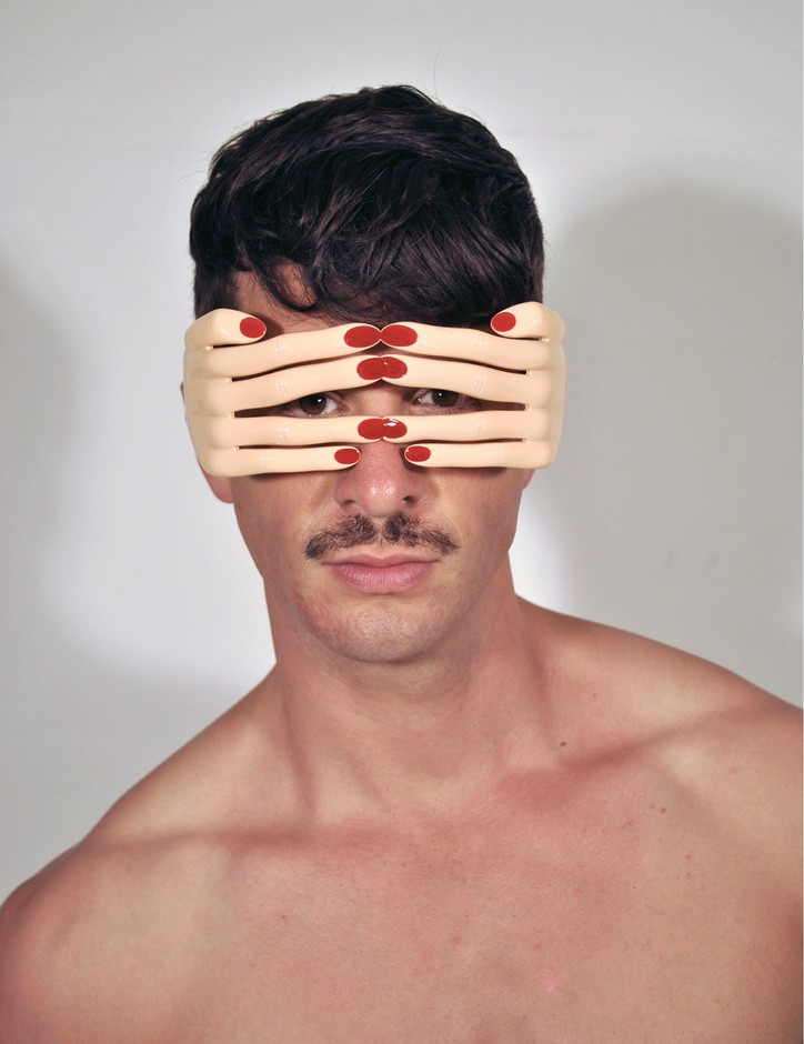 Linda Farrow Projects - Jeremy Scott Flesh Pink Hands Sunglasses at Coggles.com online store