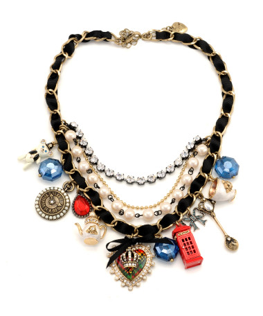 Heart Crown Multi Charm Necklace - Betsey Johnson
