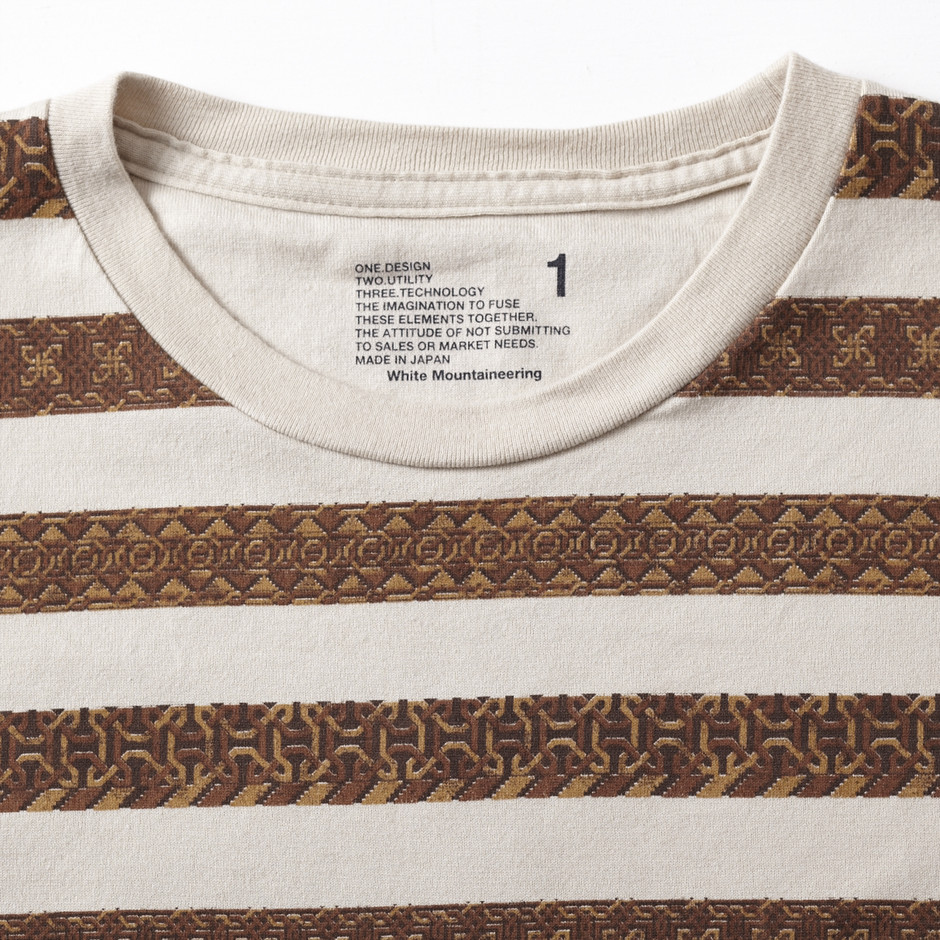 Jacquard Border Print 3/4 Sleeve T-Shirts | EYESCREAMJP