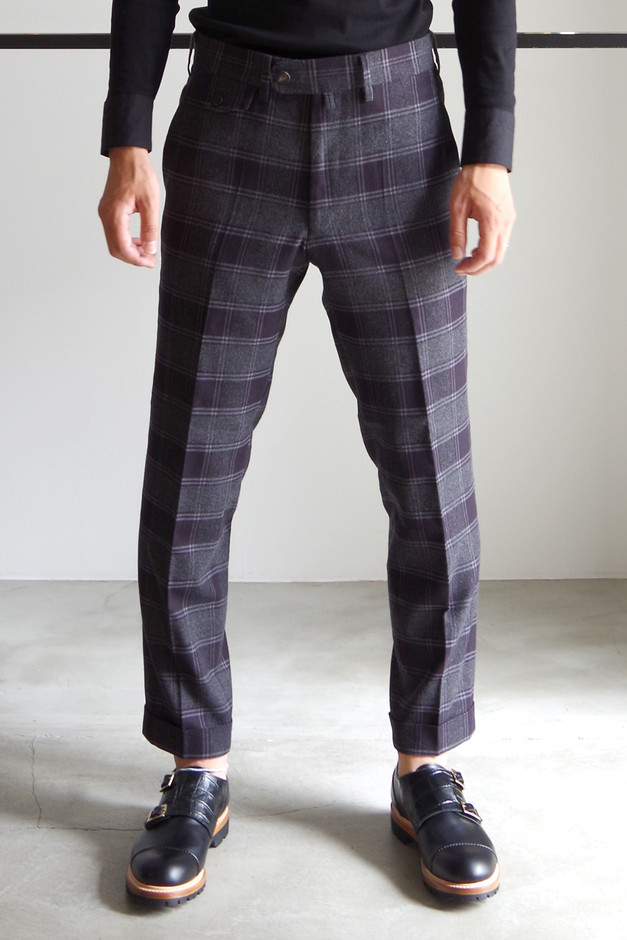 CHECK ANKLE TROUSERS / GRAY CHECK - RAINMAKER KYOTO ONLINE
