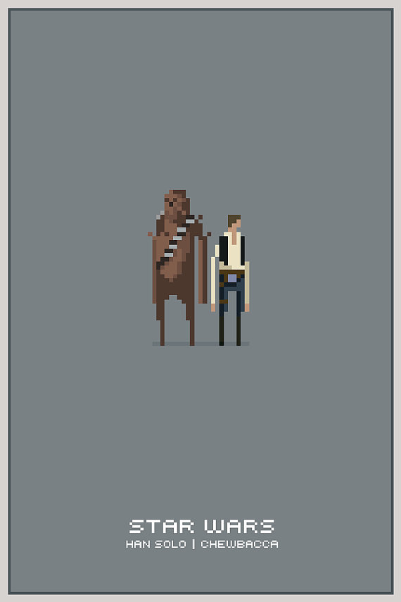 Han & Chewie 11x17 Pixel Poster Framed by drawsgood on Etsy