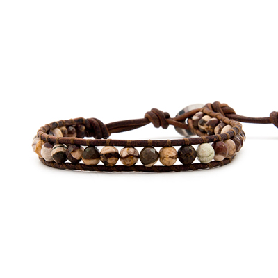 The Red Zebra Jasper Single Wrap Bracelet on Red Brown Leather by jewelry designer Chan Luu