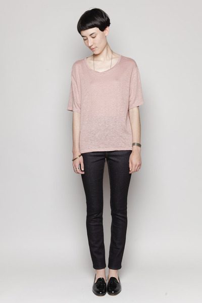 Totokaelo - Acne - Wonder Linen Boxy T-Shirt - Antique Pink