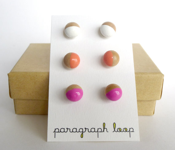 Pink peach and white earring set button post by paragraphloop