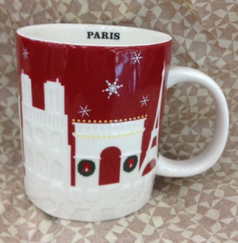 Starbucks Paris Red Christmas Relief City Mug 2013 Limited Edition New | eBay