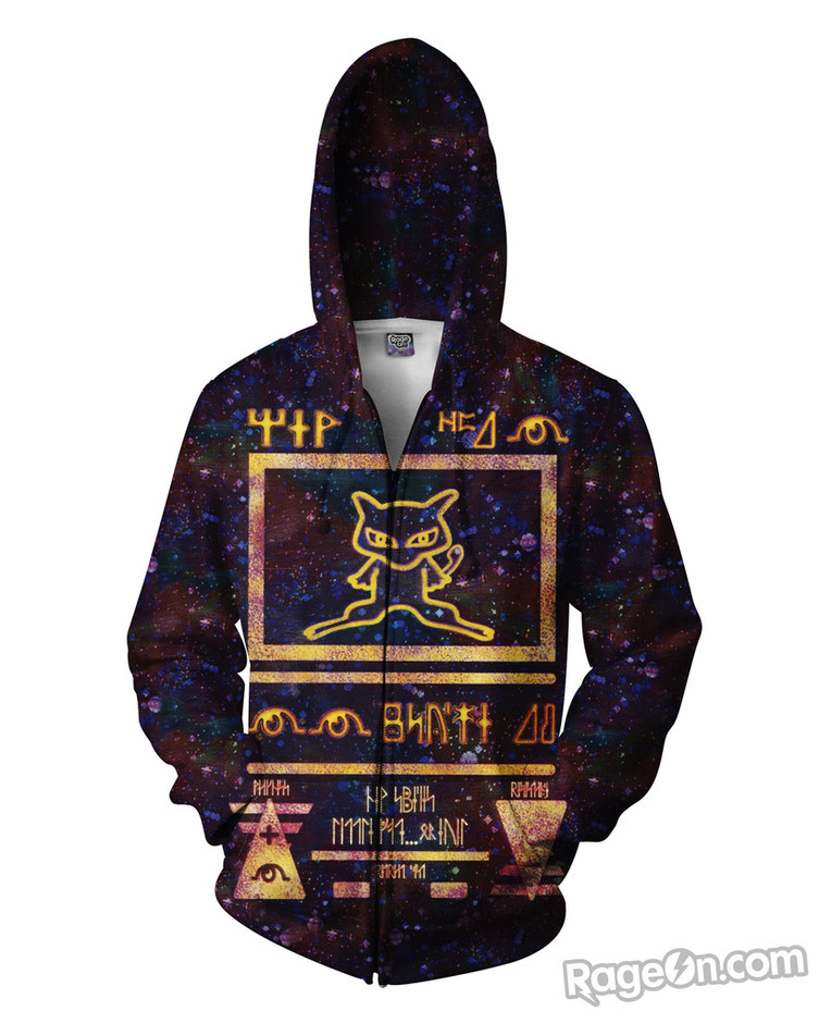 Ancient Mew Limited Edition Black Zip-Up Hoodie - Rage On! - The World's Largest All-Over Print Online Retailer