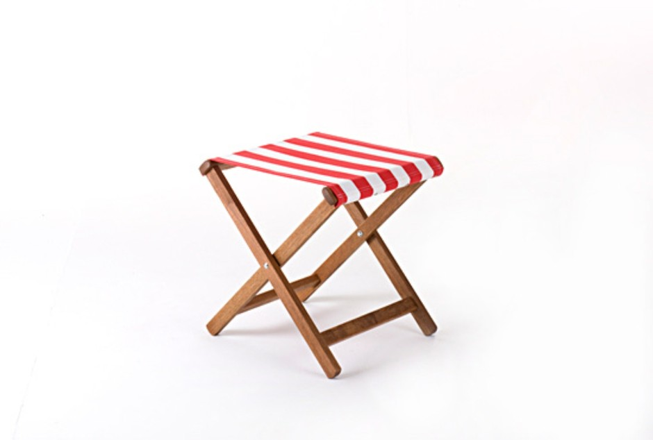 Stool - RED AND WHITE STRIPE