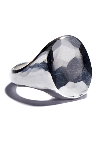 Signet Ring Oval Hammered